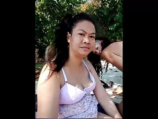 Thai girl and her friend showing their bodies on camera